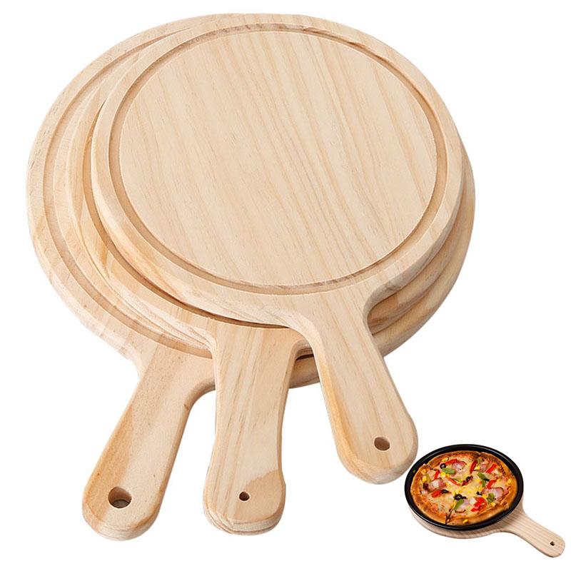 나무 피자 라운드 도마 손 베이킹 트레이 Bakeware 도구 피자 나무 커팅 보드