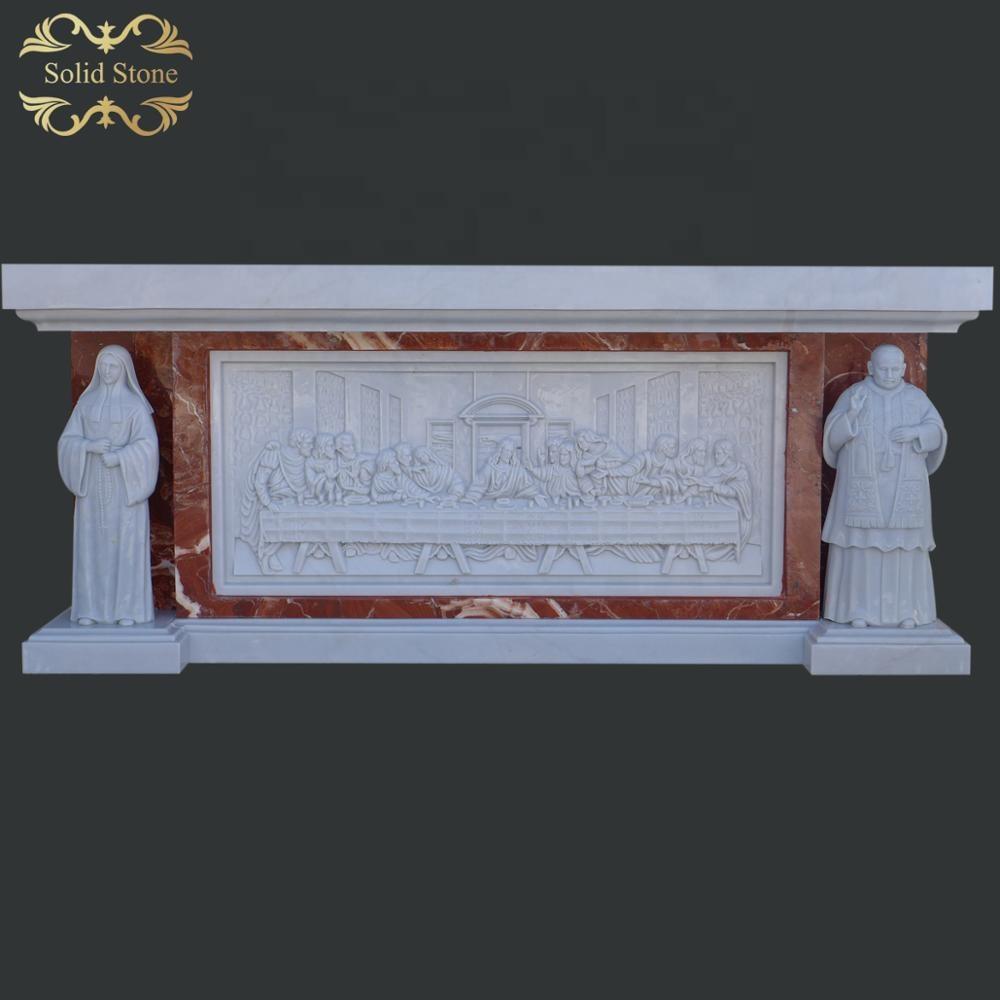 Suministro directo de fábrica de alta calidad natural de mármol blanco Iglesia altar table