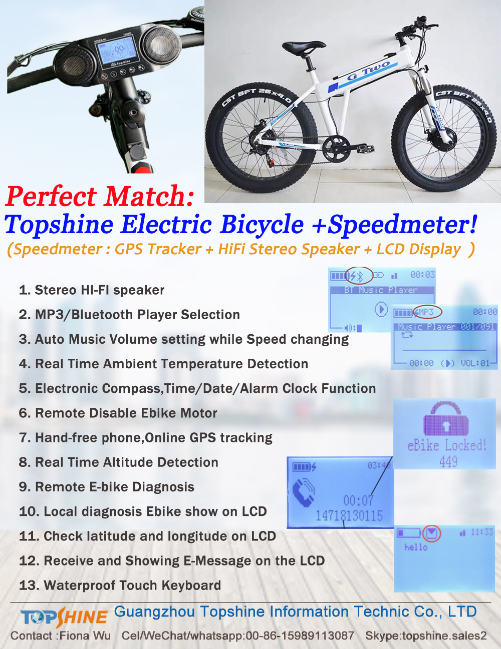 HiFi Music system Fat Tire Electric bicycle with GPS Speedometer Real time Altitude Detection