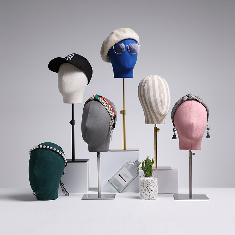 BoutiqueหมวกหัวMannequinแว่นตาวิกผมจอแสดงผลปรับความสูงผ้าใบMannequin HEADสำหรับจอแสดงผล