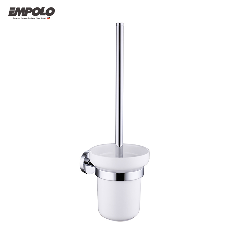 Modern Hanging Toilet Brush Holder Ceramic Holder with brush Chrome Finish Toilet Brush Set