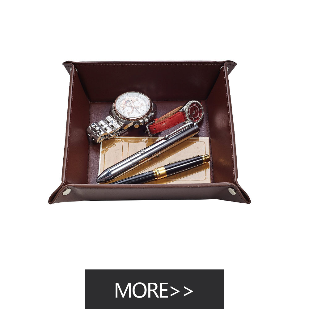 Hotel Leather  Wood Serving Tray with Handle