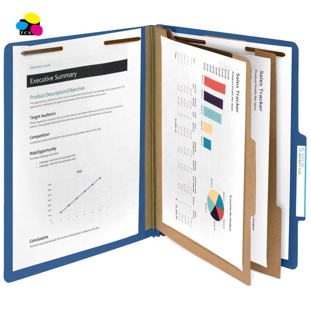 New Letter Size Dark Blue Pressboard Classification Paper File Folders W/ 2 Partitions