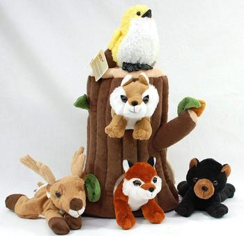 Customized  Plush Tree Stump Treehouse And Stuffed Forest Animals