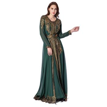 Dark Green Chiffon With Heavy Full Appliques Golden Flower And Matching Color Pearl Beading Kaftan Jalabiya Long Wedding Dress