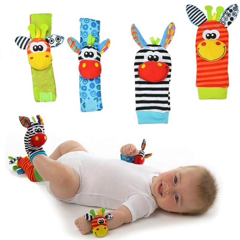 Meias infantis bebê crianças chocalho brinquedos de pulso chocalho e meias de pé 0 24 24 meses