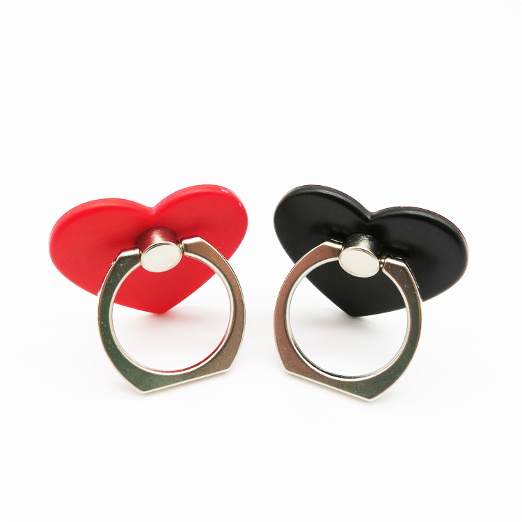 2020 fashion heart shape colorful portable universal 360-degree rotation acrylic cute Couple mobile phone finger ring holder