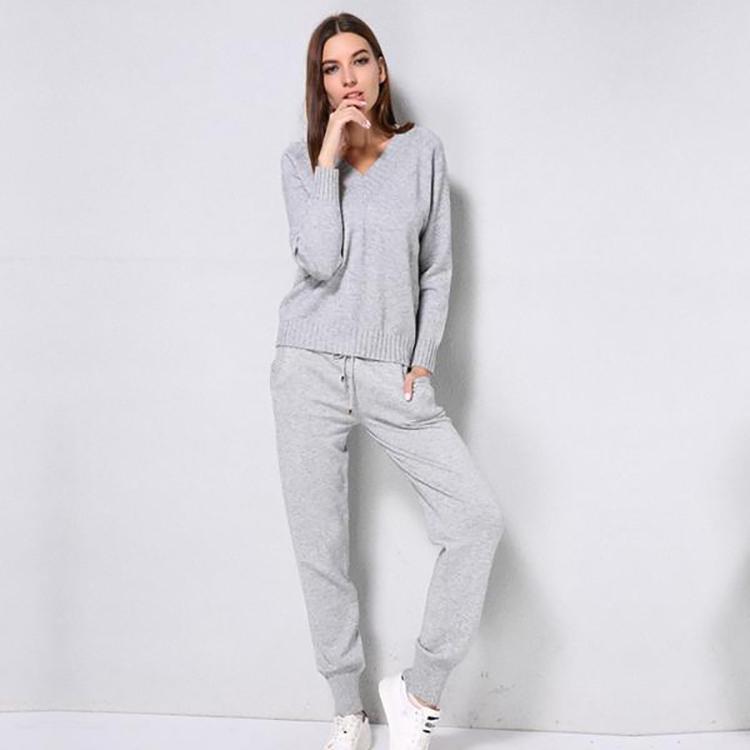 OEM Service V-Neck Long Sleeve Knitwear Women Sweater Pants Suits