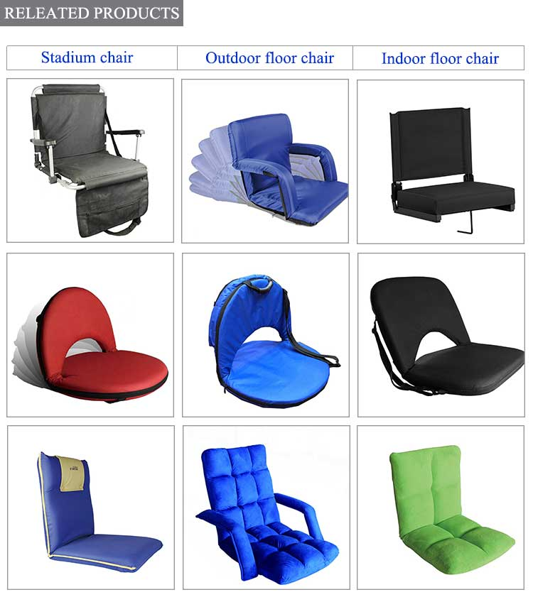 Comfortable multi-color padded stadium seat folding adjustable backrest folding floor chairs