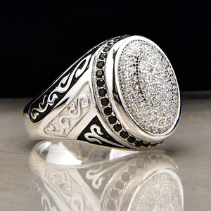 China Factory Wholesale 925 Sterling Silver Zircon Man Ring Jewelry 2019