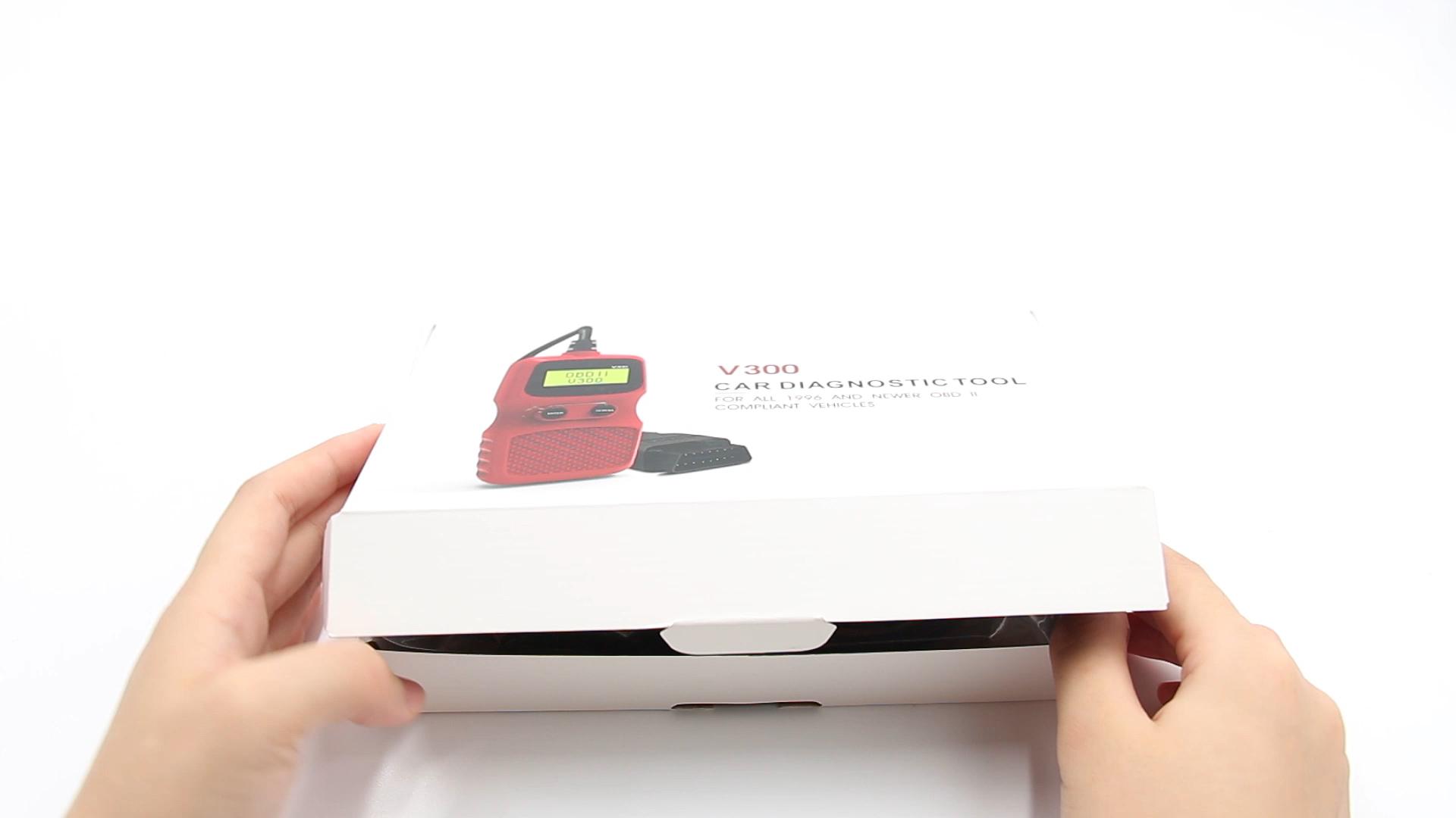 간단한 디자인 V300 OBDII 코드 리더 휴대용 자동차 코드 스캐너 OBD2 진단 도구 도매