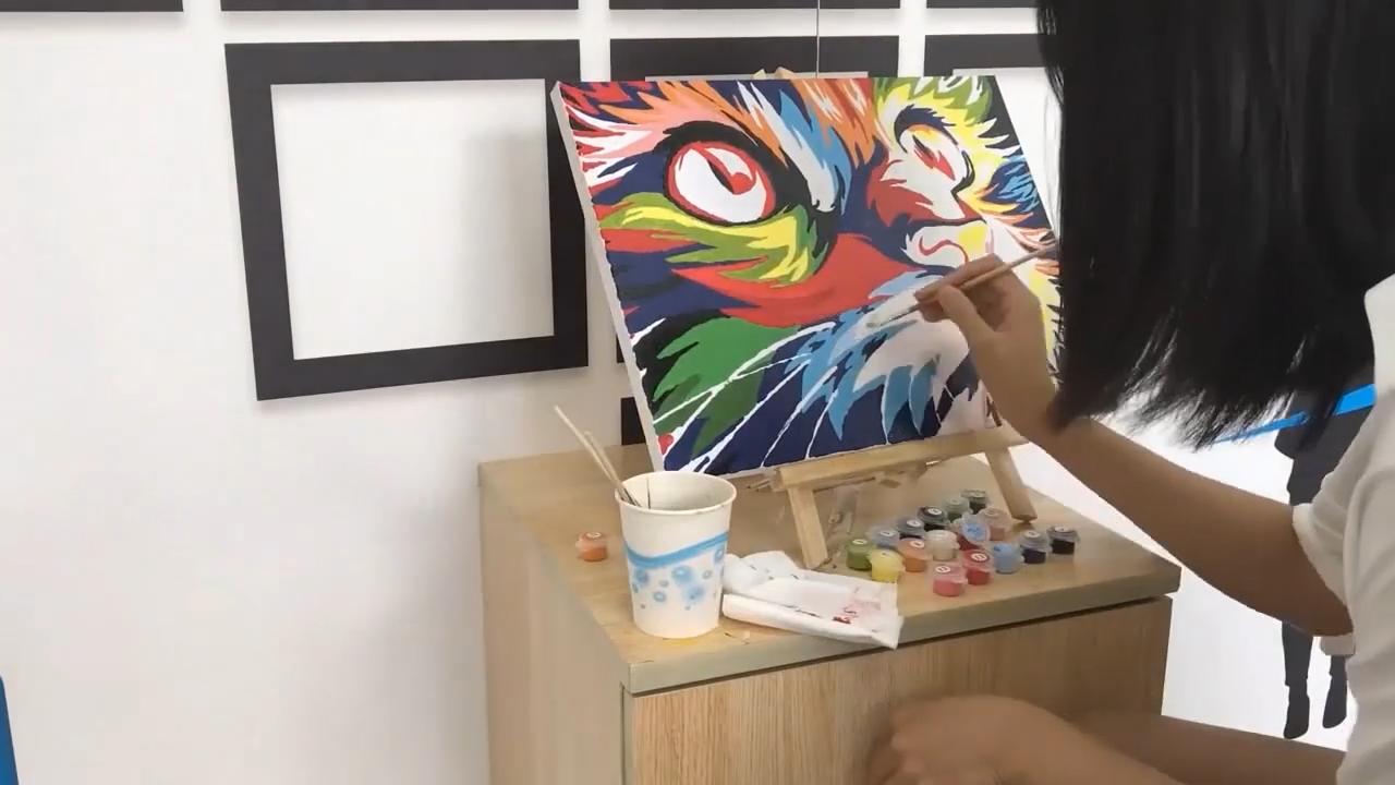 لون القط DIY النفط اللوحة Newsight بينتوركس الطلاء من قبل عدد للبالغين
