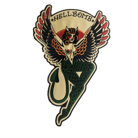 Hellbomb Female Devil Embroidery patches full Back Size Iron on Biker Patches for Clothing Jacket