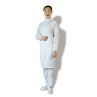 2019 White industrial zipper workwear safety clothing antistatic smock long gown esd protective work clothes