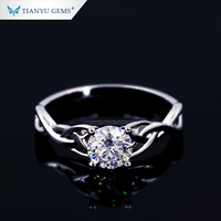 Wholesale Unique Design 14K White gold real Diamond Moissanite Ring