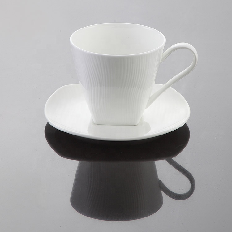 Porcelain white square coffee cup