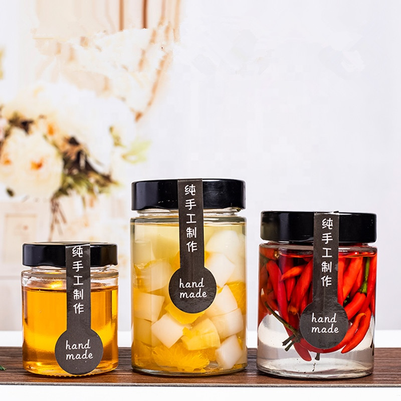 Round 100ml 150ml 180ml 220ml 280ml 380ml 500ml 750ml sealed storage jam honey glass jar with deep metal cap