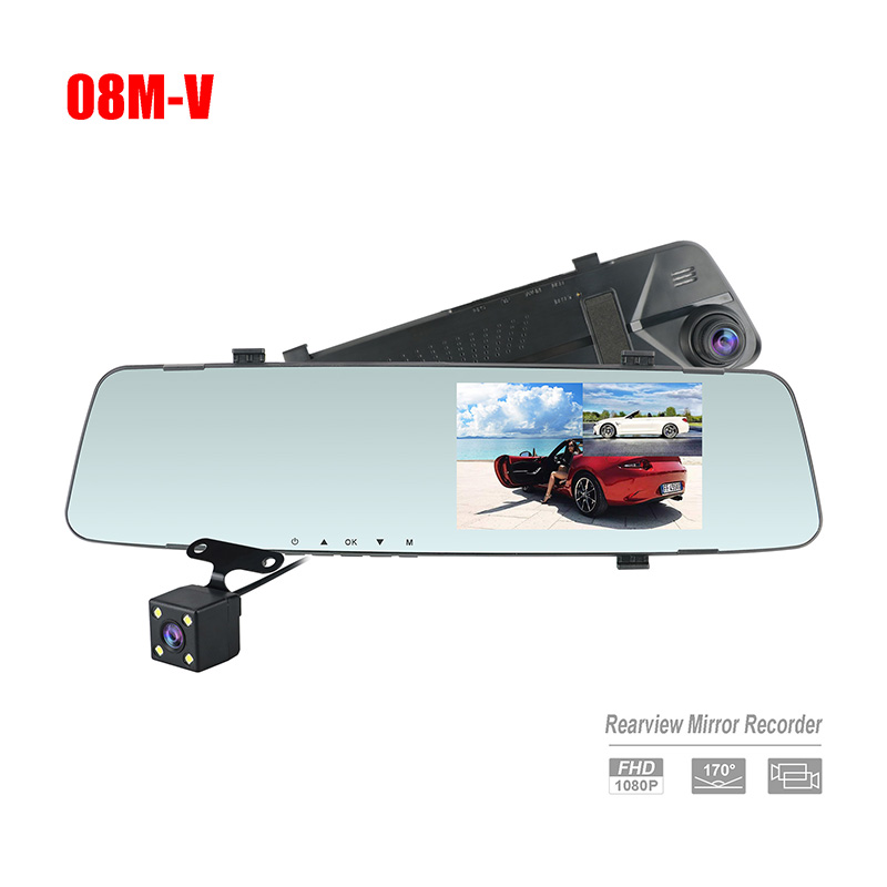 Factory 4.3 inch HD1080P Mirror Camera with rearview Camera for car dual video Recording