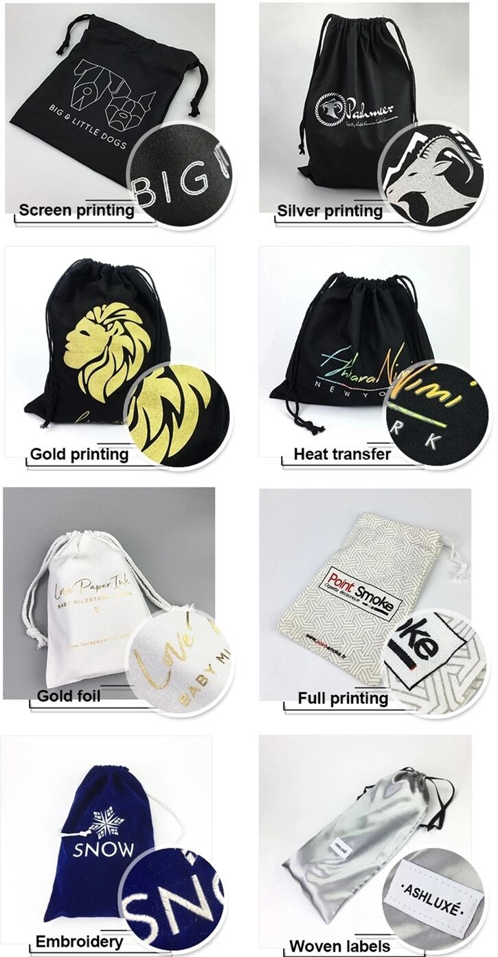 Custom Cotton Drawstring Bags Size High Quality Dust Bag Jewelry Bags Gift Bag For Gift Storage And Packaging