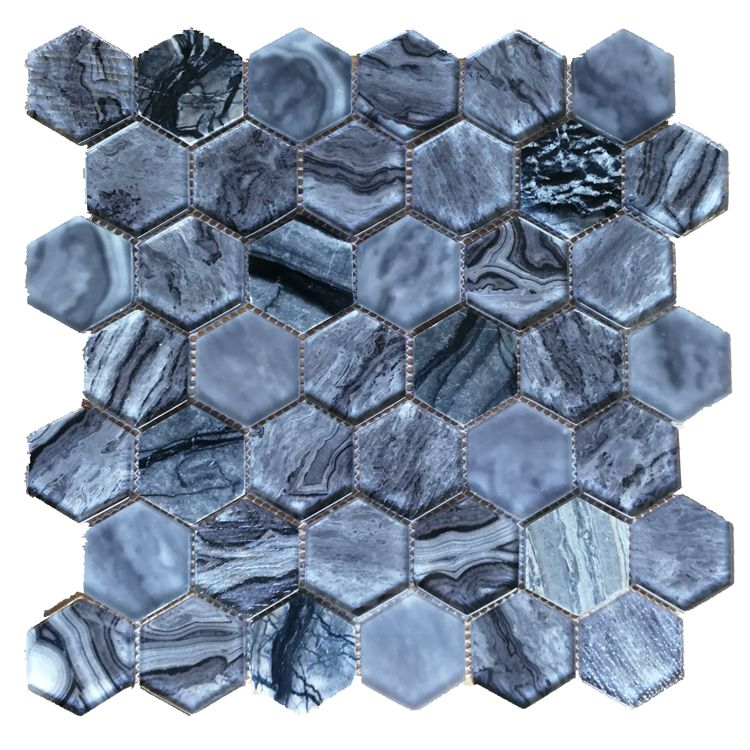 Top Selling Hexagonal Design glass mosaic , laminated and stone mosaic for Wall and kitchen