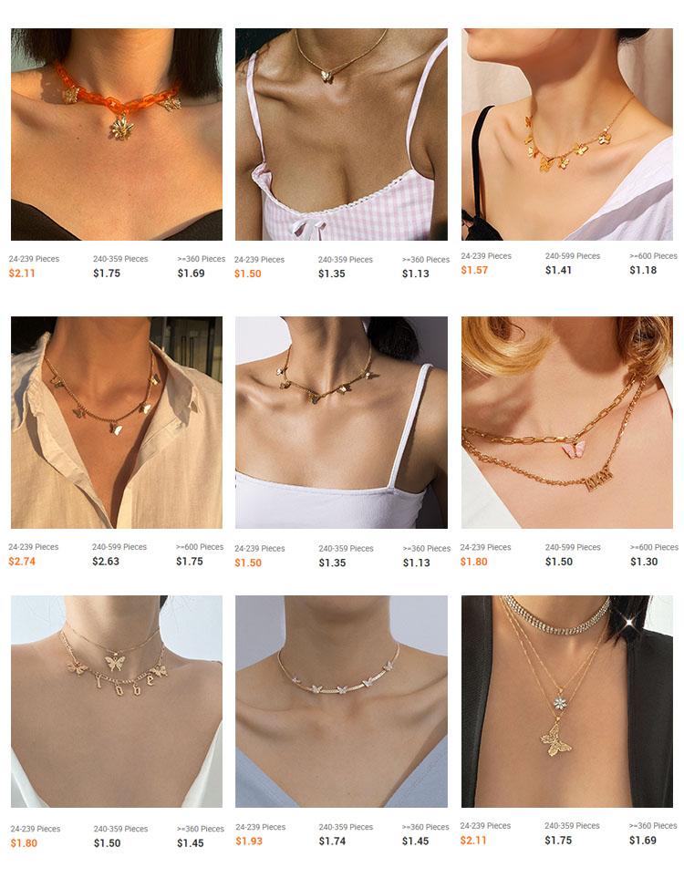 Collier ras du cou pour femme, bijoux multicouche, brillant, diamant complet, incrusté en Zircon, fleur papillon