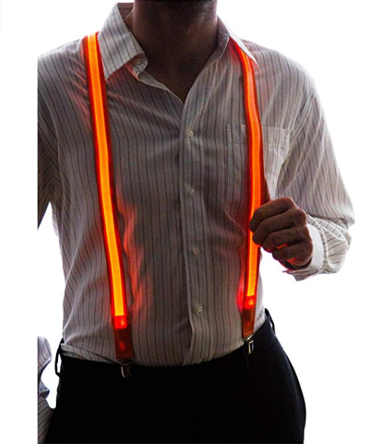 Wholesale <strong>Men's</strong> Light Up Orange LED <strong>Suspenders</strong> Party AD2414