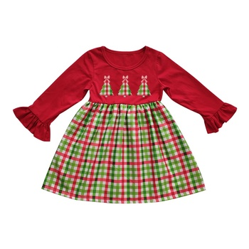 Wholesale Bulk High Quality Kids Girl Toddler Christmas Cotton Knit Ruffle Dress For Baby Girl 2019