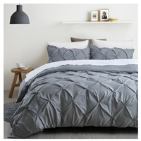 Unique Pinch Pleat Pintuck Duvet Cover Set 3 Pieces/ Luxury Decorative Stylish Brushed Microfiber Bedding Set
