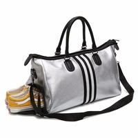 Fashion Lady Sports Fitness Duffle Bag Tote PU Leather Women Weekender Travel Bag