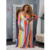 Hot Sale Casual+Dresses Women V Neck Long Sleeve Striped Party Loose Long Maxi Dress with Belt S-XL