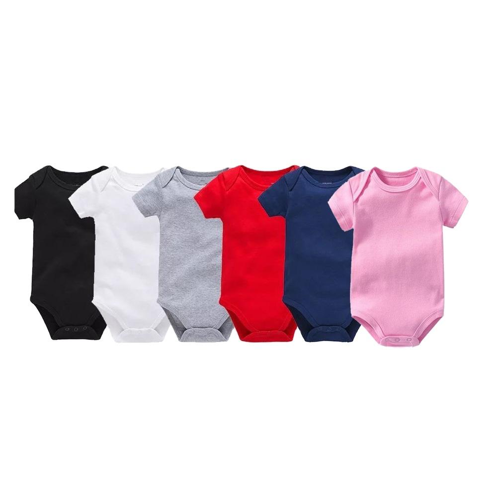 Toptan katı renk bebek erkek kız komik bebek giysileri tulum kısa kollu boş Bodysuit giysileri bebek + tulum