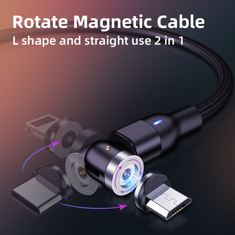 Wholesale On stock 3 in 1 magnetic charging cable micro usb type c lighting phone accessories fast charging magnetic usb cable