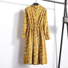 Женское бархатное винтажное пригородное платье с высокой эластичной эластичной талией, женское платье, трапеция с длинным рукавом, вечерне...(Китай)