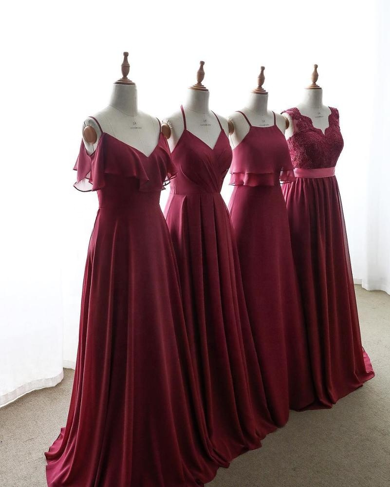 2020 New Sleeveless Bridesmaid Dresses Spaghetti Strap Bridesmaid Dress Long