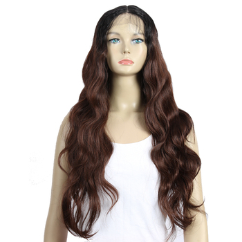 Sleek best selling wigs colored soft heat resistant synthetic wigs with a bang body wave lace front synthetic wigs