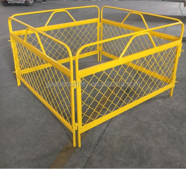 orange PVC coated construction temporary chain link fence