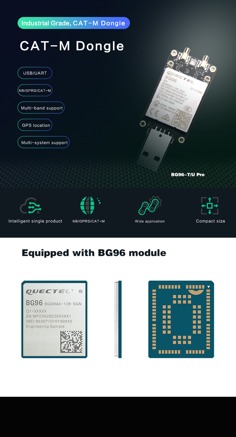 850/900/1800/1900Mhz 4G LTE EDGE GPRS GPS GNSS Optional BG96 USB Dongle with SIM Card Slot