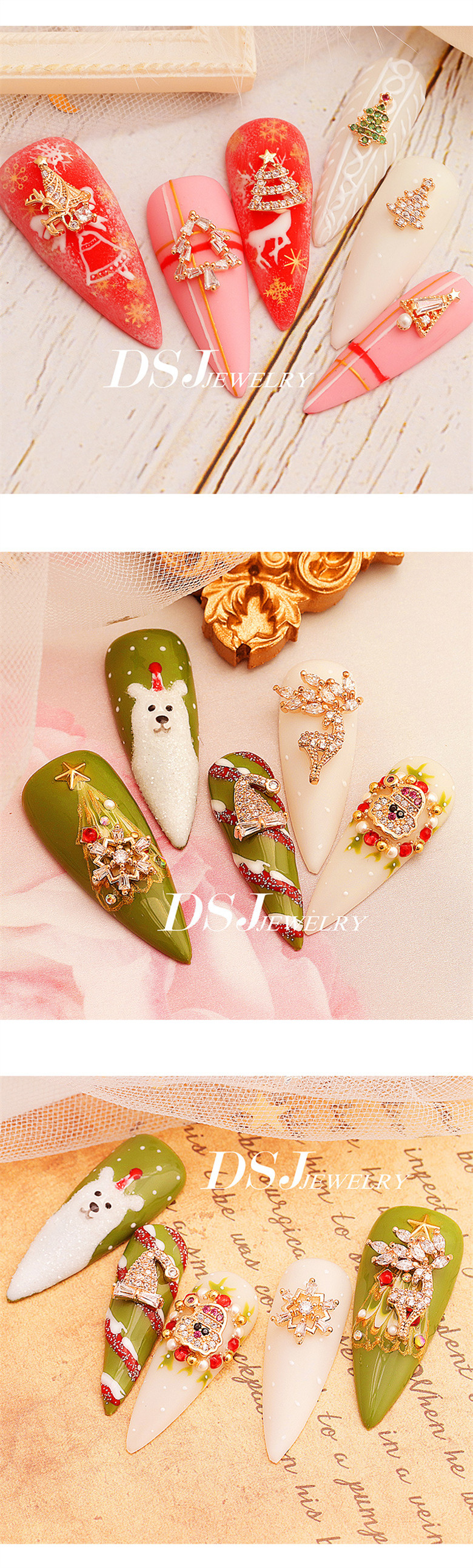 2020 New Arrival Christmas Alloy Nail Pearl Jewelry Nail Glitter