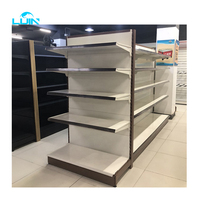 LIJIN SHELF Factory directly super store display grocery rack metal shelf supermarket hole back cosmetic shelf with light box