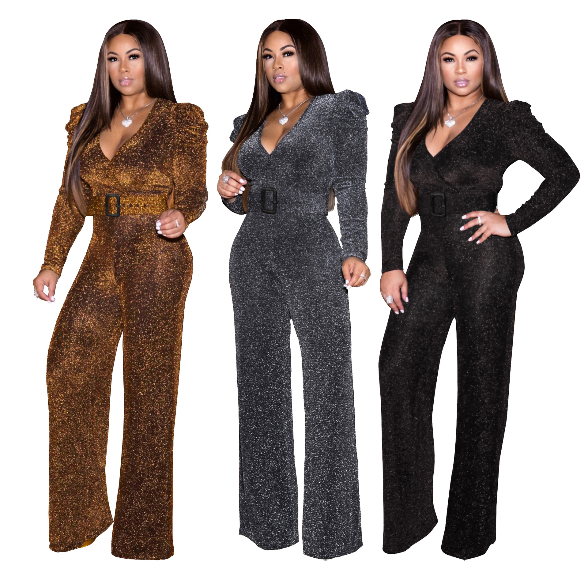 2019 Fashion Latest Design Hot Selling Sexy Fashion V-neck High Stretch Rompers One Piece Long Sleeve Jumpsuits for Women
