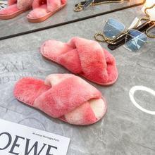 Зимние меховые тапочки; Женские шлепанцы на меху; Разноцветные шлепанцы без застежки; Женская разноцветная домашняя обувь; Zapatos De Mujer(Китай)