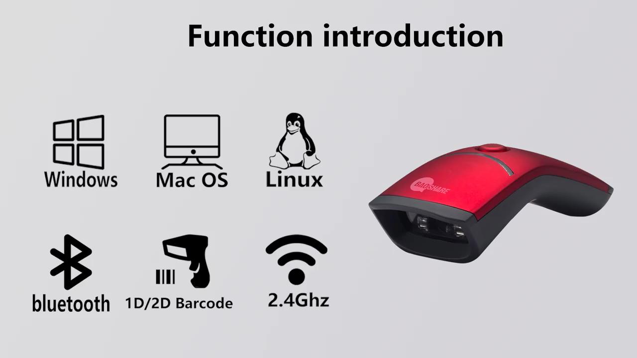 2.4G ו-bluetooth 2D ברקוד סורק נייד קורא ברקוד אלחוטי QR קוד סורק עבור נייד מסך