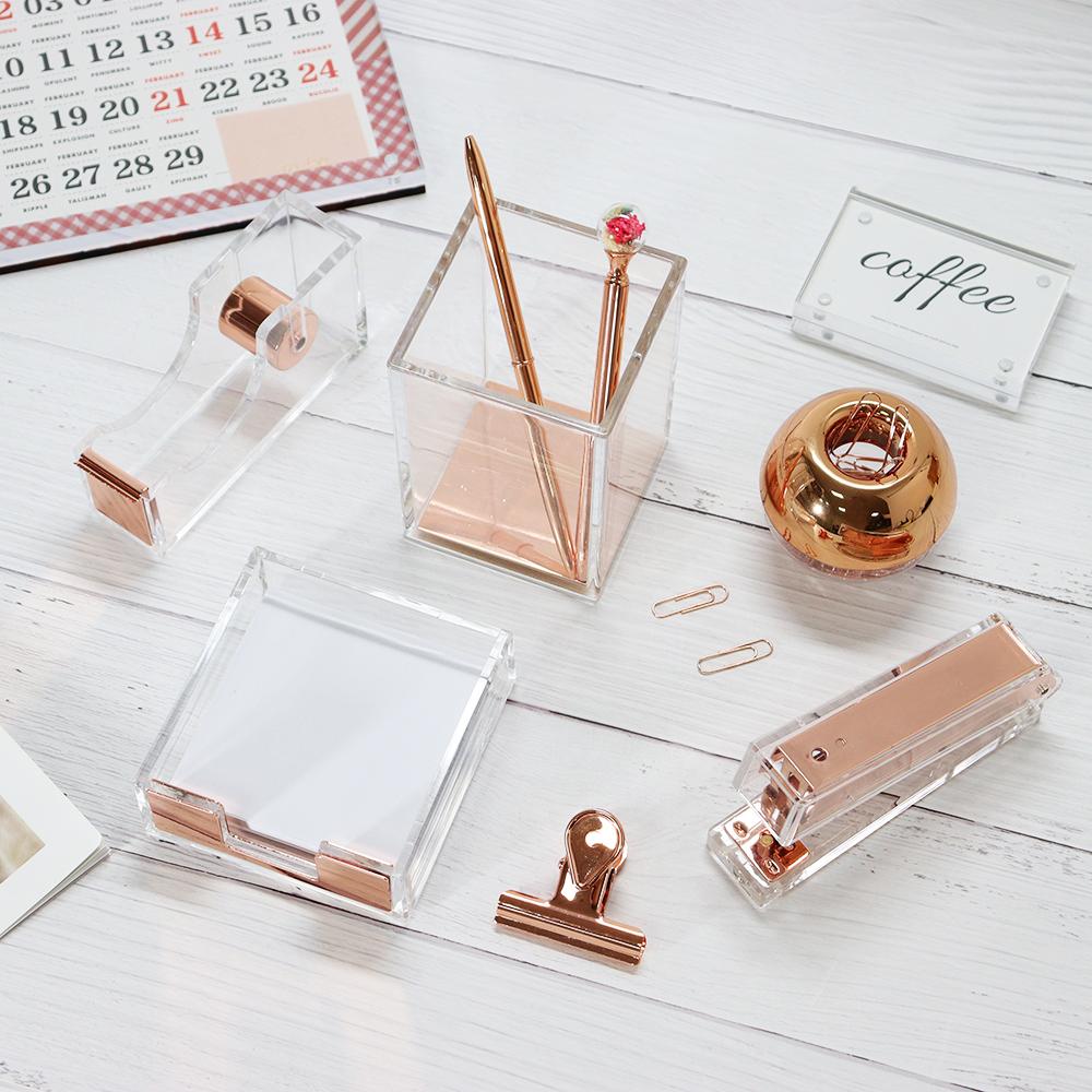 Light Luxury Office Gift Set Acrylic Rose Gold Stapler Organizer Supplies Desktop Accessories for Women