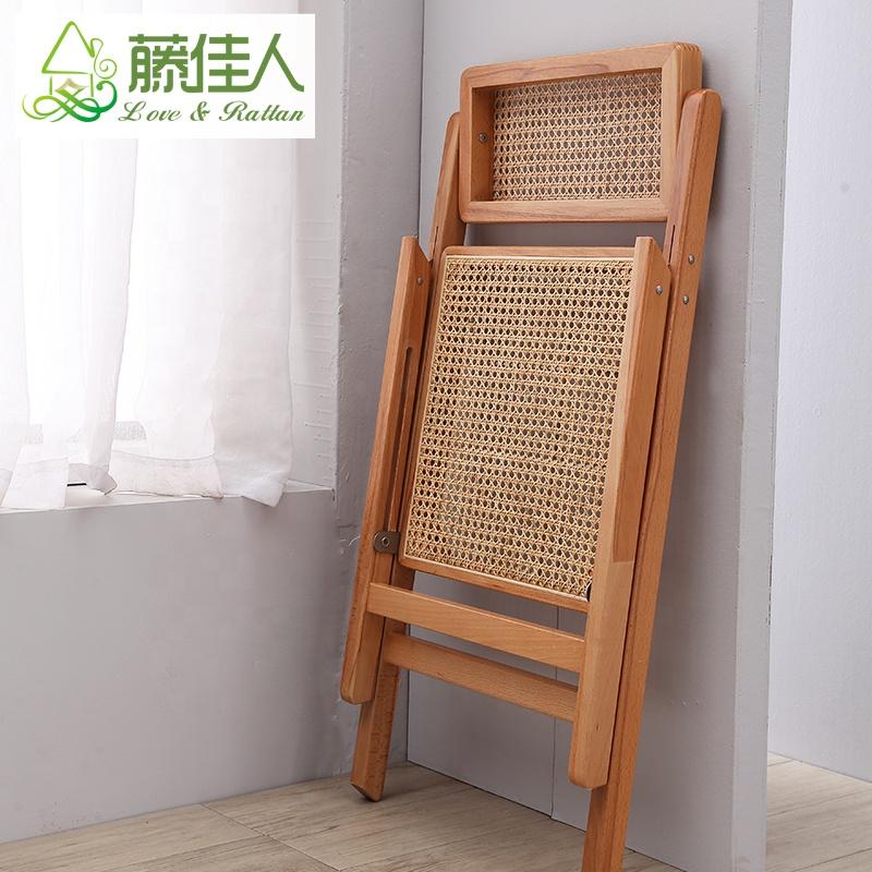 Vintage Garden Living Room Cane Rattan Wicker Wooden Folding chair