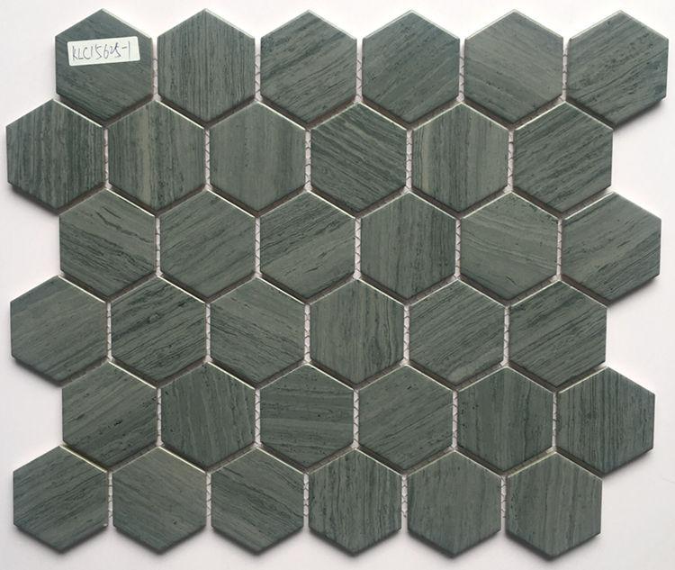 Hot selling green hexagonal ceramic mosaic porcelain tile for bathroom and kitchen Foshan China