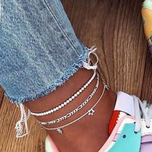 Женский многослойный браслет IF ME, серебряный браслет на лодыжку звезда в стиле бохо, цепочка на щиколотке, пляжные ювелирные изделия(Китай)