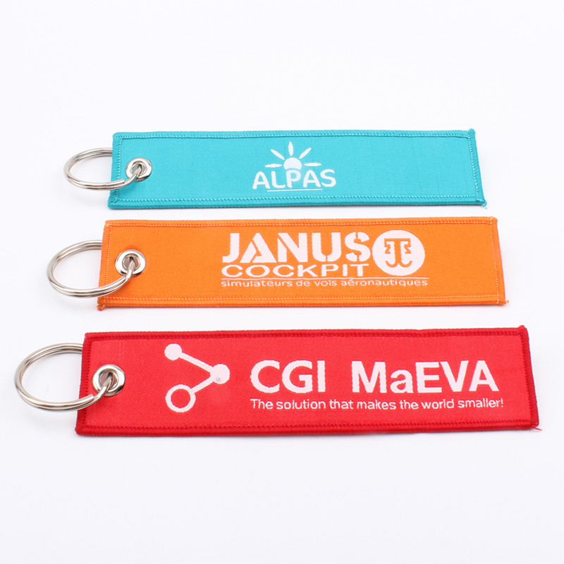 Fashion Short Strap jacquard Luggage Tag embroidered Mobile Phone keychain/key tag/jet tags Custom