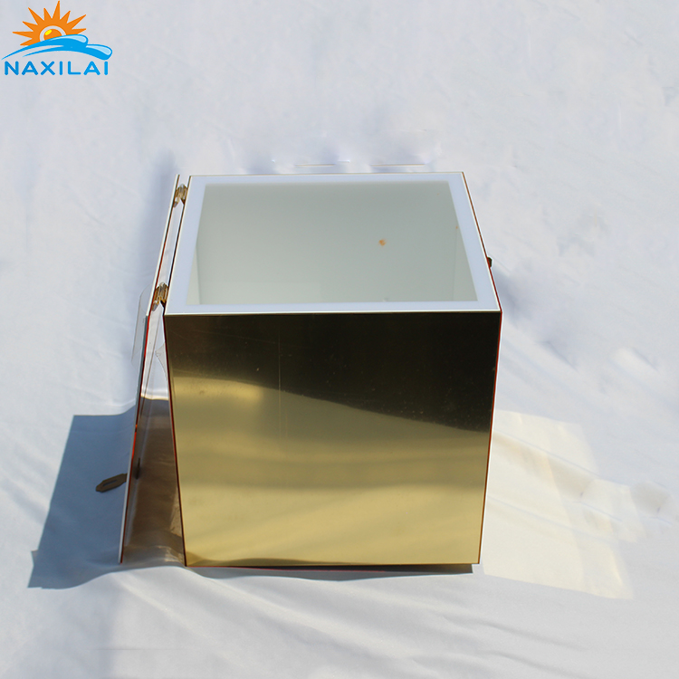 NAXILAI Colorful Gold Wishing Well Clear Acrylic Mirror Box With Lock For Wedding