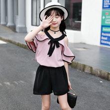 Детская летняя одежда для девочек, розовая шифоновая рубашка с открытыми плечами, шорты для подростков 4, 5, 6, 7, 8, 9, 10, 12, 13, 14 лет, 2020(Китай)