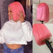 Цветной розовый короткий парик Боб 13*4 кружевные передние человеческие волосы парики красный кружевной передний боб парик перуанские волос...(Китай)